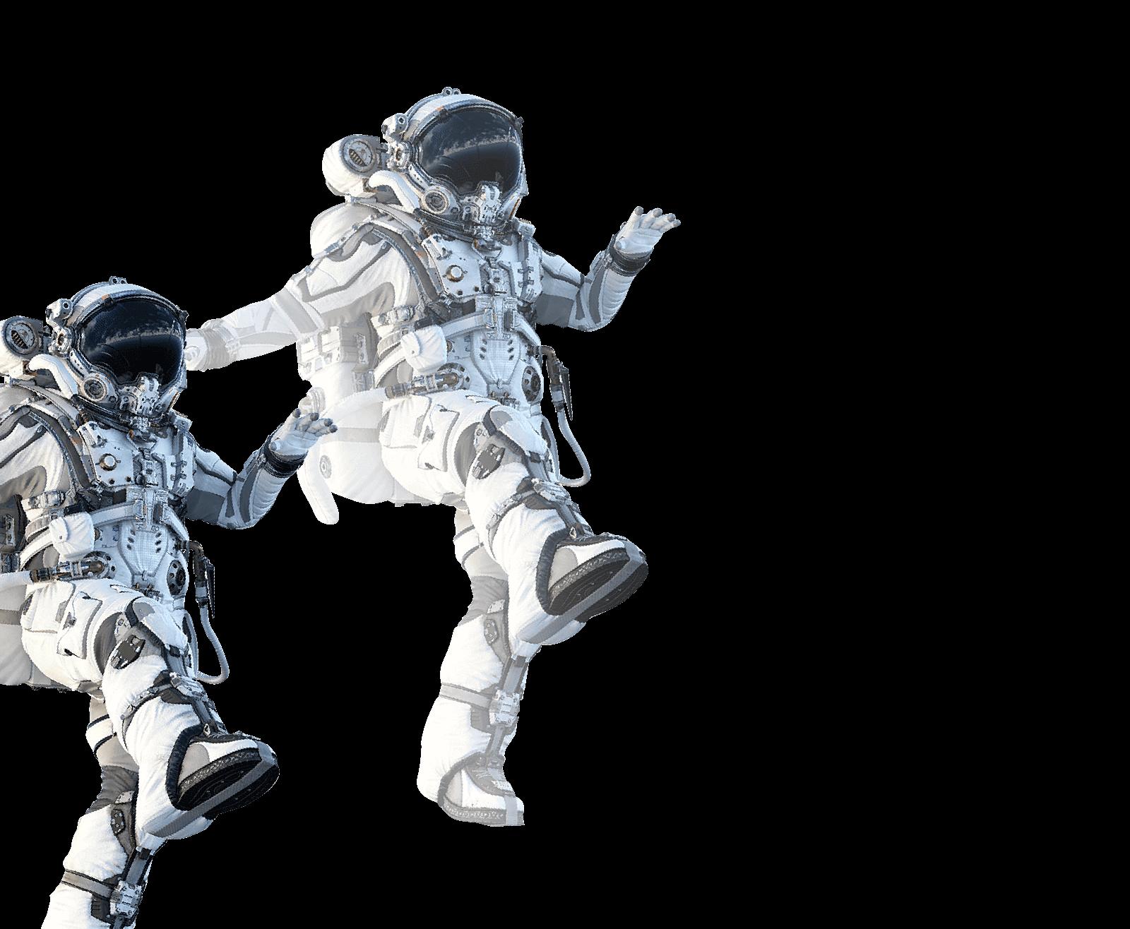 宇宙服を着た2人