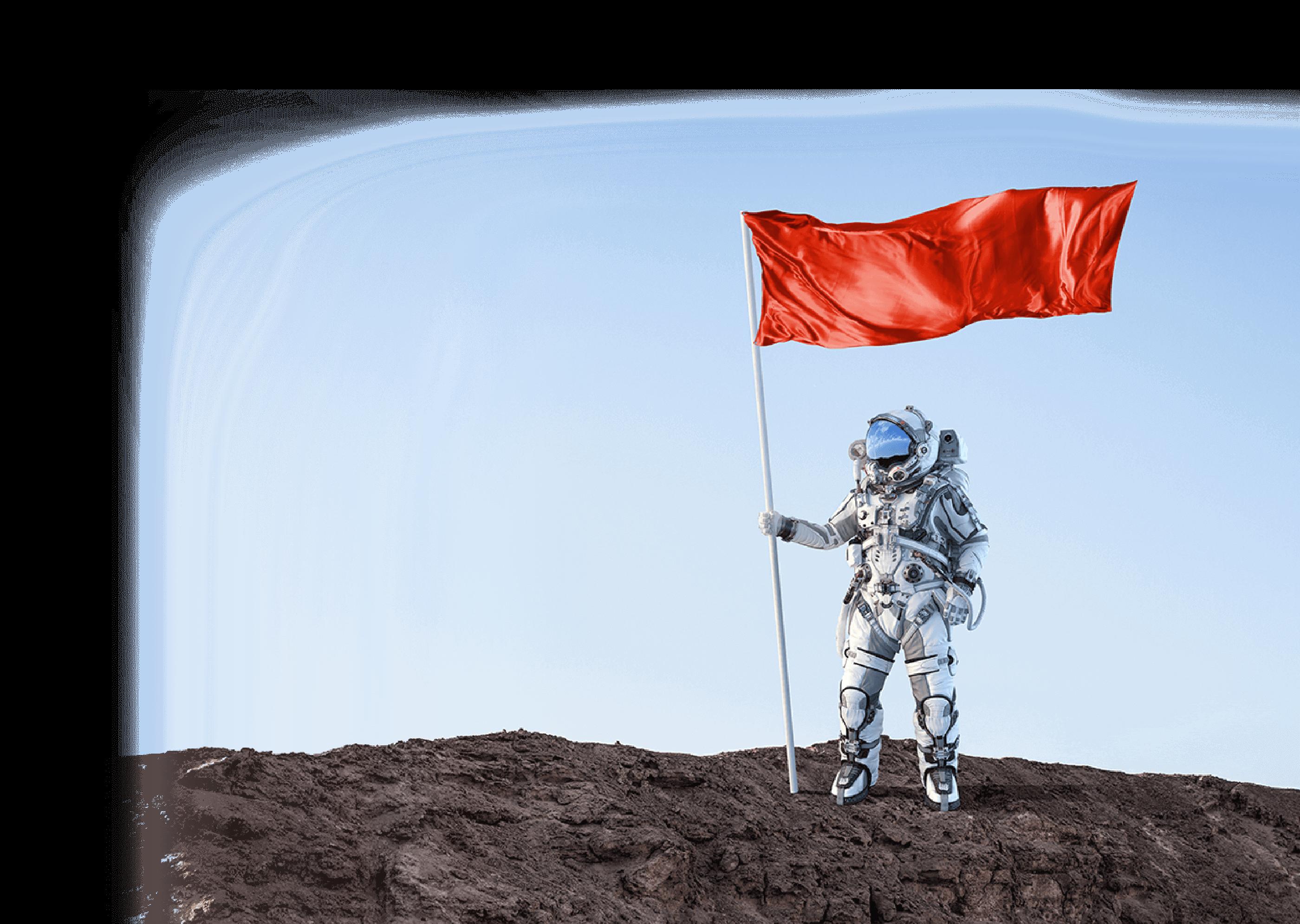 星に旗を差す宇宙飛行士