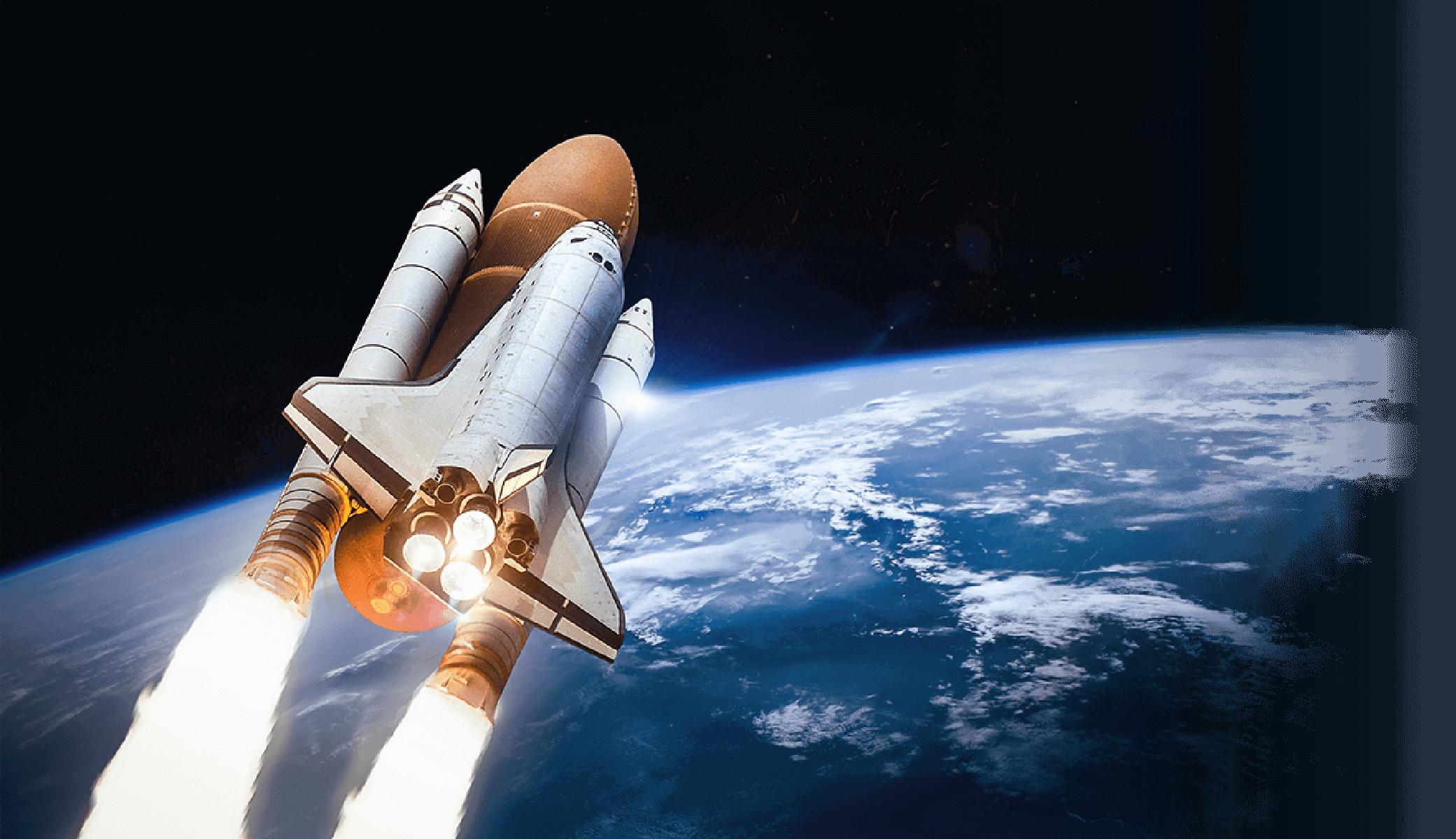 地球上を飛ぶスペースシャトル